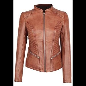 💼 🎾Decrum real leather brown moto jacket NWT